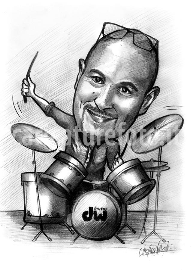 caricatura ritratto divertente di musicista batterista che suona