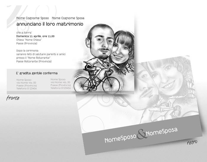 partecipazione invito matrimonio con caricatura